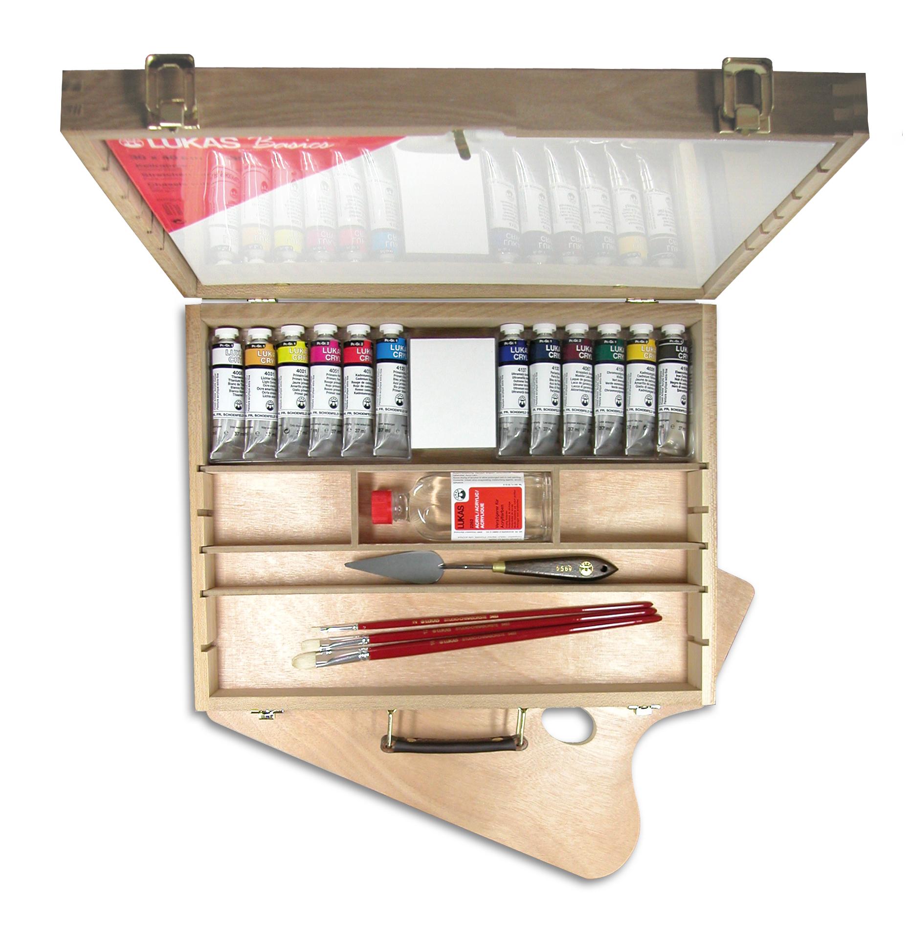 Lukas Cryl Pastos - Acrylfarben im Holzkoffer groß