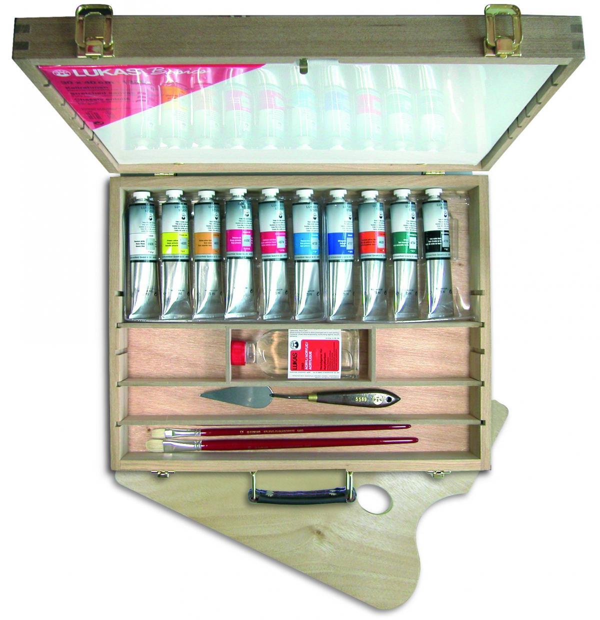 Lukas Cryl Studio - Acrylfarben im Holzkoffer groß