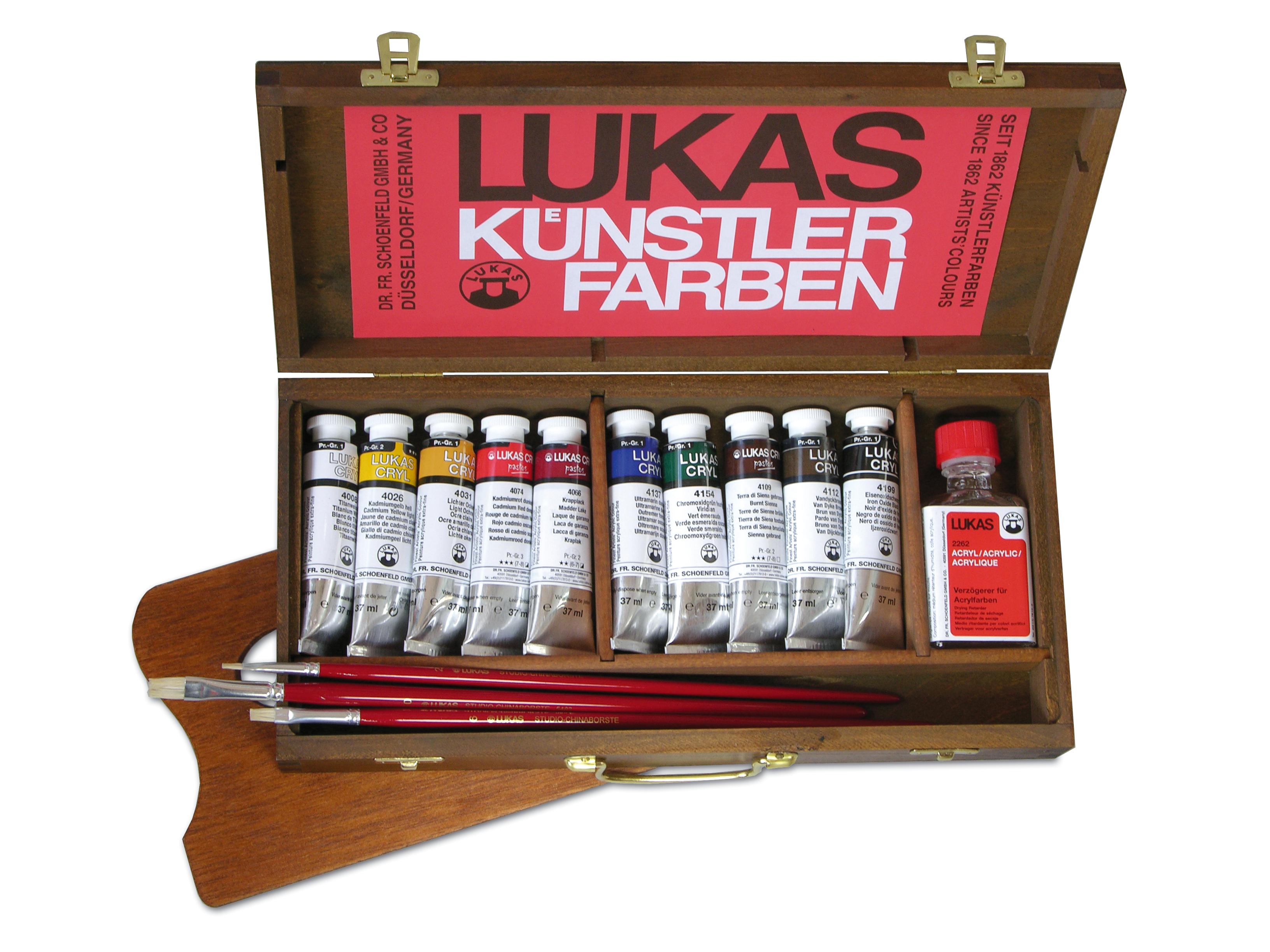 Lukas Cryl Pastos - Acrylfarben im Holzkoffer klein