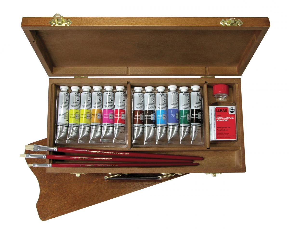 Lukas Cryl Studio - Acrylfarben im Holzkoffer klein