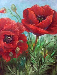 Malanleitung - Scharlachrote Mohnblüten von Kathwren Jenkins