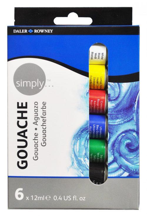 Simply Gouache 6er Set, je 12ml Tuben